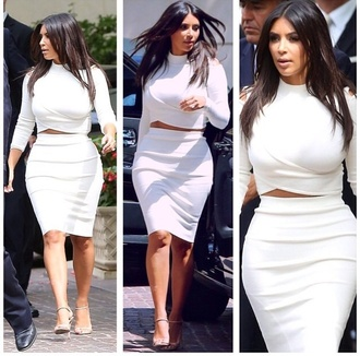 blouse white dress crop tops kim kardashian fashion top kardashians skirt