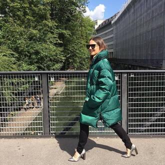 coat green coat pants black pants