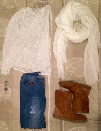 pants white t-shirt jumper hollister ootd ugg boots gucci watch pandora scarf