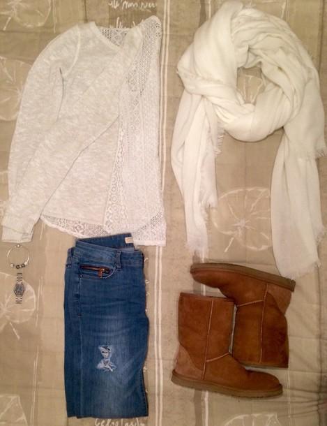 pants white t-shirt jumper hollister ootd ugg boots gucci watch pandora scarf
