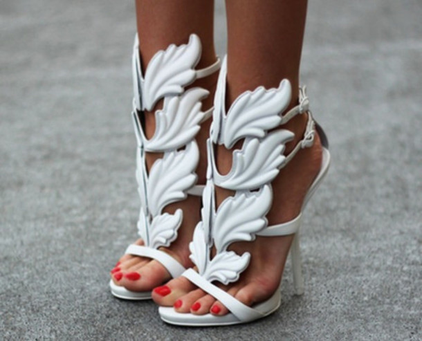 Shoes: white heels leaves greek stilettos open-toed silver