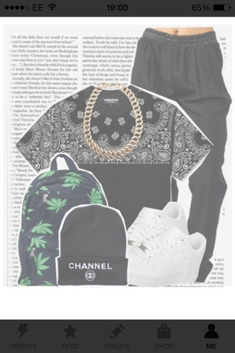 t-shirt bandana print leather pants huf bag hat jewels