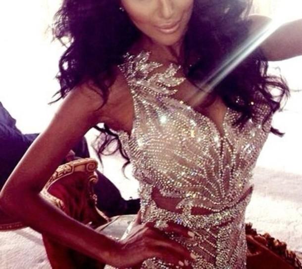 Dress Gold Sparkly Dress Diamonds Diamonds Bright