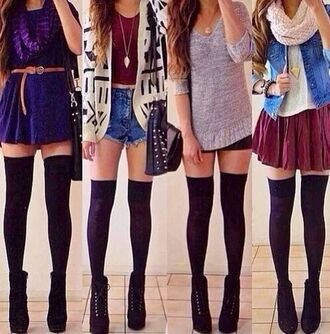 shirt tumblr outfit tumblr outfit girly shoes jacket skirt bag red grey black short boots cardigan scarf stockings leggings thigh highs high heels