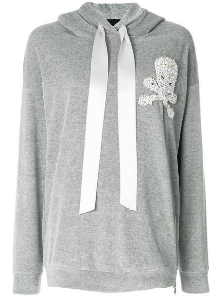hoodie skull women cotton silk grey sweater