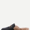 Black faux leather fur lined slippers -shein(sheinside)