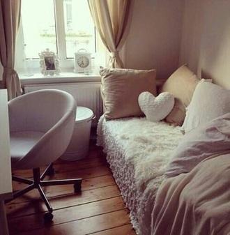 home accessory cream pillow heart throw pillow fur chair home decor dorm room chic boho