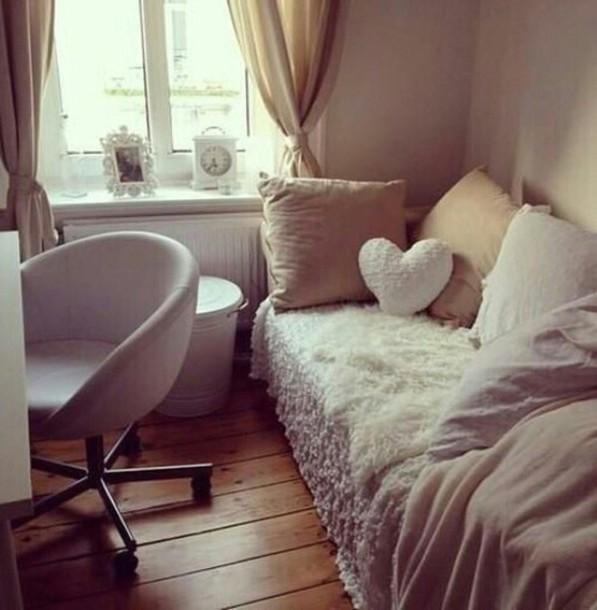 Home Accessory, Cream, Pillow, Heart, Throw Pillow, Fur, Chair, Home Decor,  Dorm Room, Chic, Boho   Wheretoget