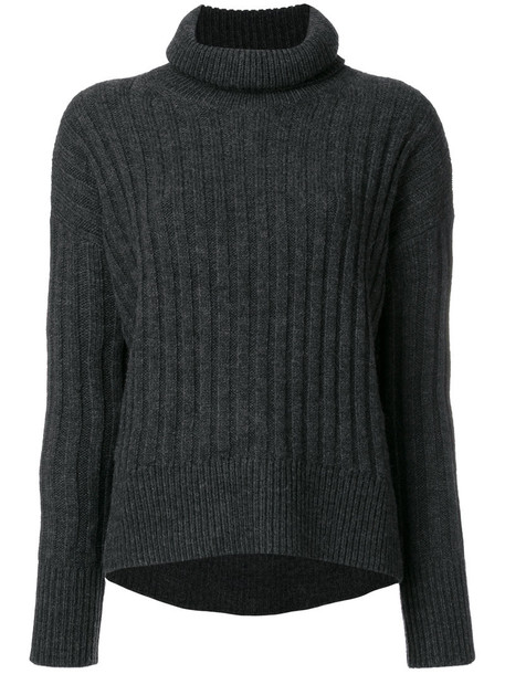 Polo Ralph Lauren - ribbed roll neck jumper - women - Acrylic/Wool/Alpaca - M, Grey, Acrylic/Wool/Alpaca