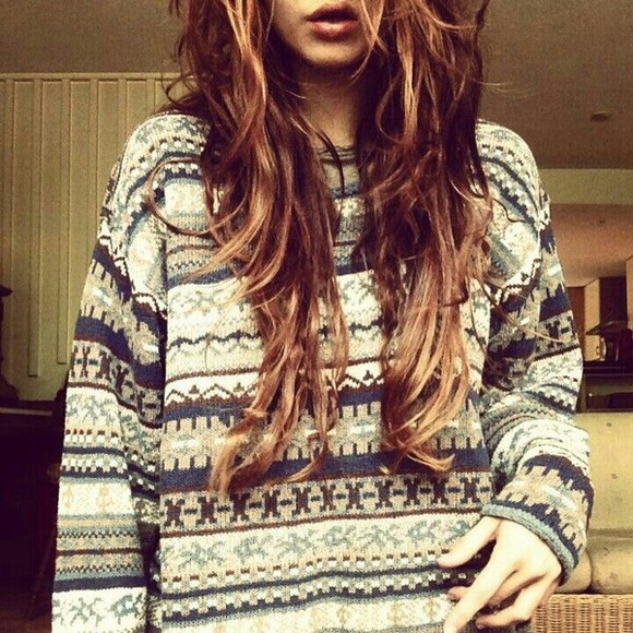 patterned sweater hipster indie tribal sweater tribal pattern pattern beige warm sweater fall outfits winter sweater