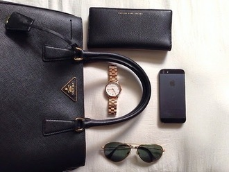 jewels watch bag black gold rayban glasses iphone