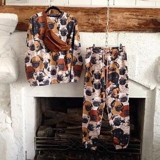 sweater print printed sweater sweatshirt crewneck joggers pants printed pants printed joggers pugs dog streetwear streetstyle fusion sdsad