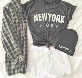 shirt new york shirt grey shirt grey beanie bad hair day beanie blouse white lace shorts hair accessory shorts