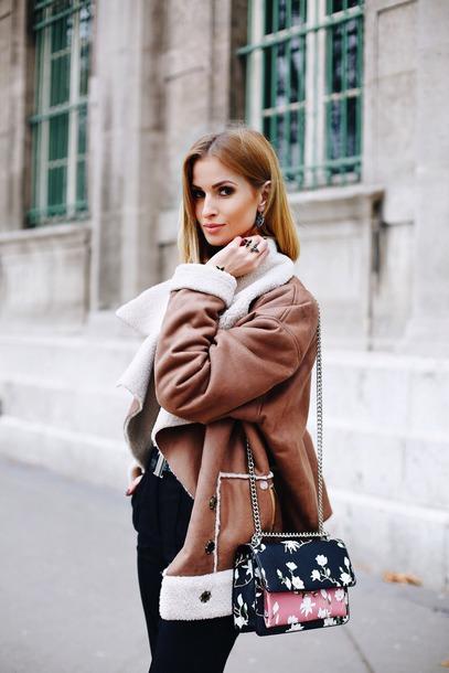 jacket tumblr shearling jacket brown shearling jacket shearling brown leather jacket bag floral