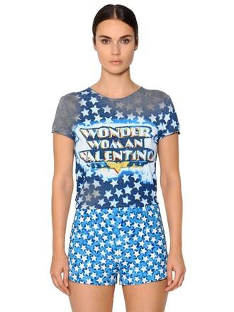 t-shirt shirt women cotton blue grey top