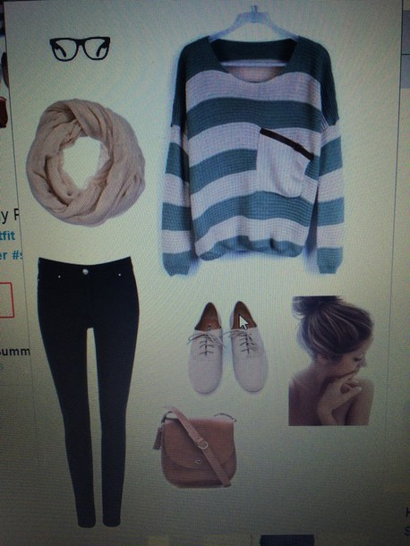 blouse sweater cute outfit scarf bag glasses spring winter outfits fall outfits shoes