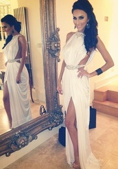 dress,lilly ghalichi,white,greek,maxi,bling,occassion,weheartit,white dress,sleeveless dress,gorgeous,embelished dress,slit dress,prom dress,open sides,long prom dress,formal dress,formal,all i know that it is white,vintage evening dresses,vintage evening gowns,vintage style prom dresses,unique vintage prom dresses,vintage inspired prom dresses,lily ghalichi white