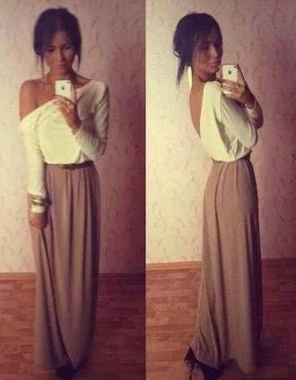 dress white brown skirt