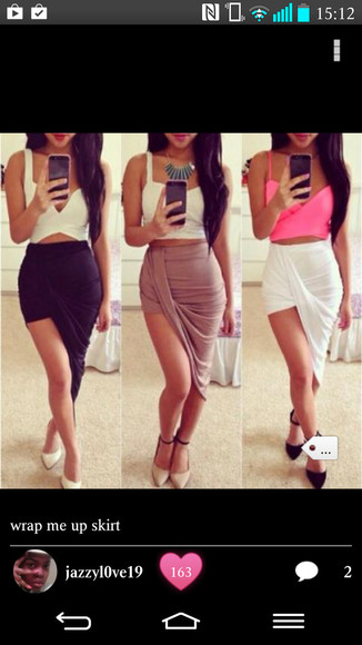 white skirt black skirt pink skirt