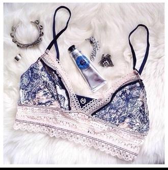 swimwear bikini blue and white roman summer spring break swim suit bikini fashion lace graphic print bikini top