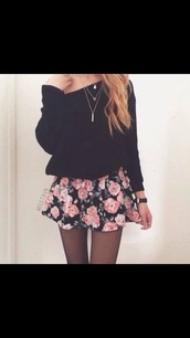 skirt,top,black top,long sleeves,sweater,cardigan,instagram,tumblr,outfit,teenagers,girl,cute,fall outfits,spring,floral,skater,skater skirt,necklace,pretty,beautiful,floral skater skirt,elegant,tights,comfy,tumblr girl,mini skirt,grey,black,white,pink,white girl,long hair,like,chic,fashion,skinny,thin,floral skirt,pretty girl,cute sweaters,spring skirt