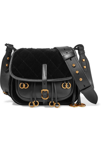 quilted bag shoulder bag leather black velvet