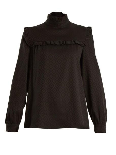 blouse jacquard geometric black top
