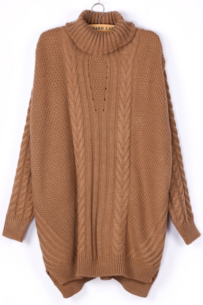 High-low Turtleneck Cable Sweater - OASAP.com