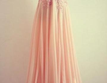 Pretty pink lace floor length prom ..
