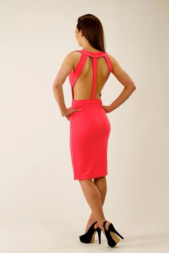 bodycon dress gorgeous beautiful dress straps cut-out fitted pencil barbie barbiepink colourful holiday