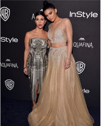 dress fashion style classy sheer grey tan beige chic long kylie jenner khloe kardashian elegant shiny sequins beaded two-piece celebrity style make-up white dress grey dress glitter labourjoisie red julien macdonald swarovski