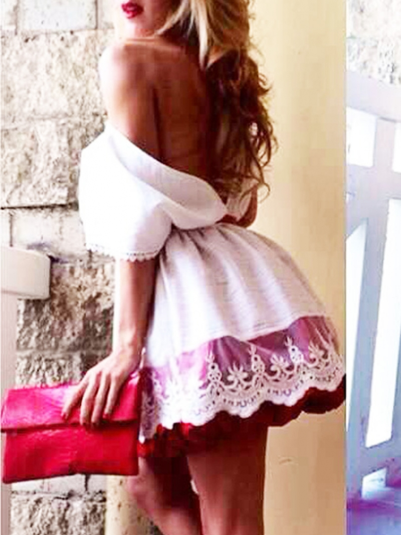 abaday Limited Edition White Backless Puff Dress With Lace Plane