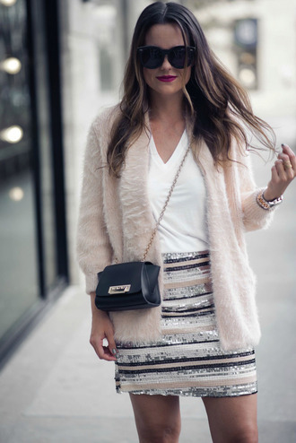 skirt disco skirt pink cardigan glitter skirt mini skirt stripes striped skirt cardigan bag crossbody bag sunglasses sequins sequin skirt