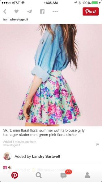 skirt floral mini flare