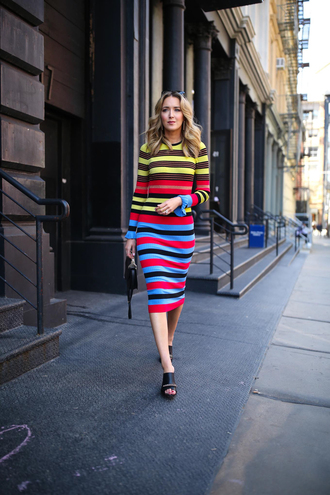 memorandum blogger dress shirt bag jewels multicolor dress multicolor long sleeve dress striped dress spring outfits