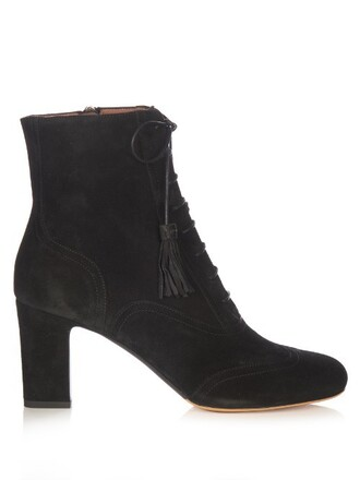suede ankle boots boots ankle boots lace suede black shoes