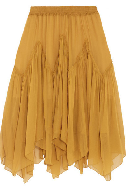 Chloé Chloé - Silk-mousseline Skirt - Saffron