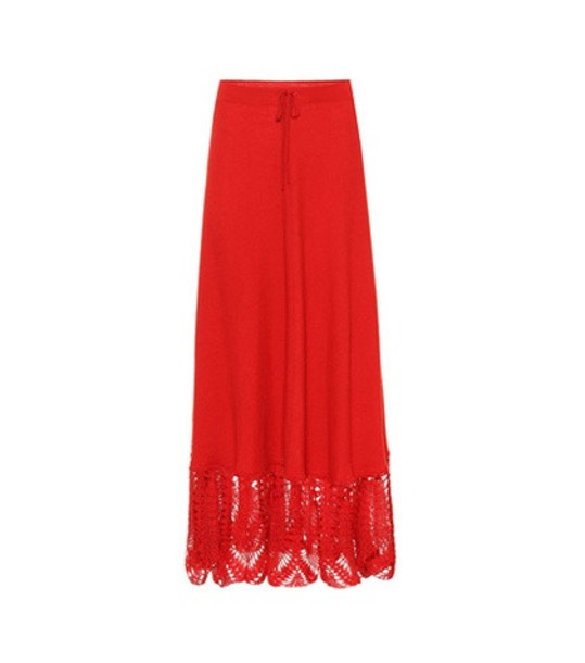 Ryan Roche Cashmere maxi skirt in red