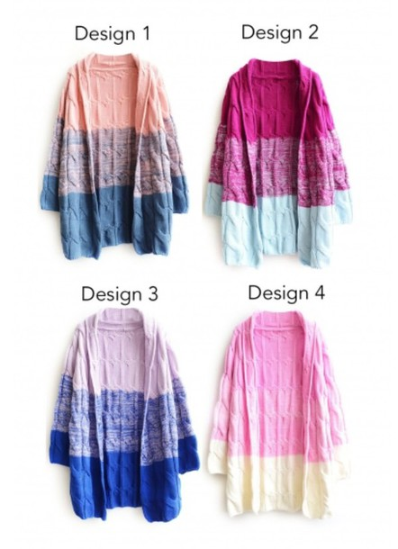 cardigan knitwear ombre long sleeves trendy casual pink colorful fall outfits beautifulhalo
