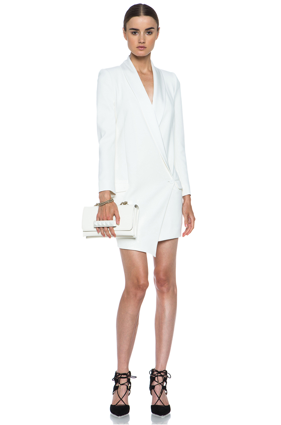 Haute Hippie|Oversized Asymmetrical Triacetate-Blend Blazer in Antique Ivory