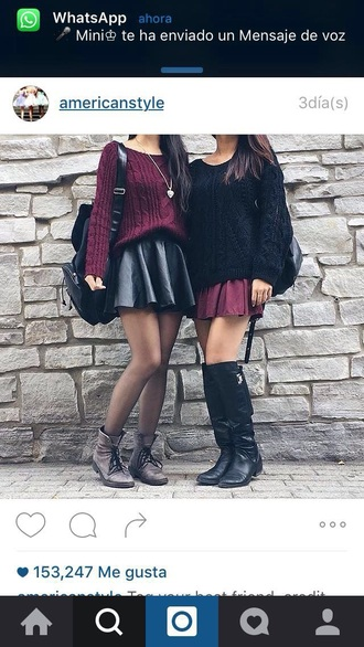 sweater red black skirt booties outfit
