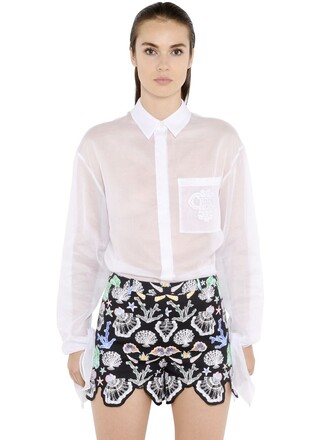 shirt embroidered cotton white top