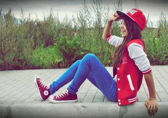 jacket red jacket blouse college jacket style cute dress hat