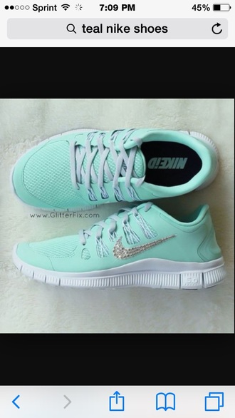 shoes colorful teal nike sneakers