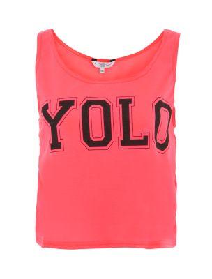 Bright Pink YOLO Crop Vest