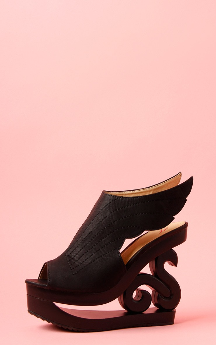 Rosie Black Cut Out Wedge | PrettyLittleThing.com