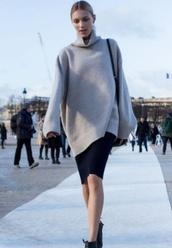 jacket,turtle neck sweater,jumper,grey jumper,oversized sweater