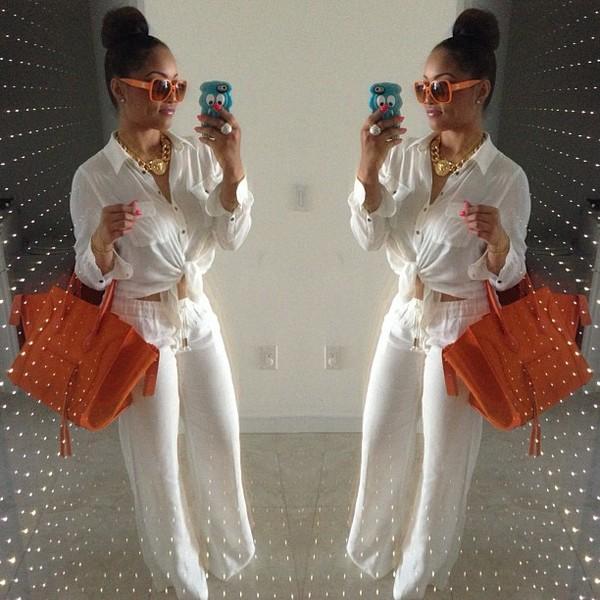 bag blouse sunglasses pants jewels