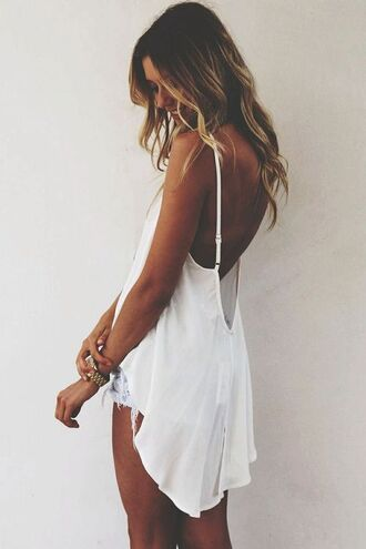 tank top low back white white shirt high low high low shirt beach wavy hair backless straps white tank loose low cut back