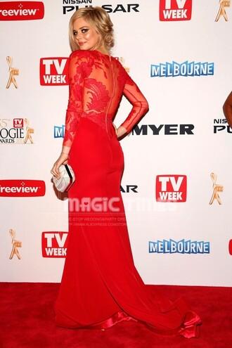 samara weaving red evening dresses prom dress long sleeve dress illusion sleeve illusion neckline long dress